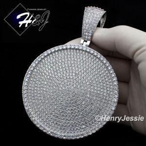 MEN 14K GOLD FINISH ICY DIAMOND OVERSIZE HEAVY SILVER ROUND CHARM PENDANT*BP11