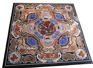 Semi Precious Stone Inlay Work Coffee Table Top Black Marble Sofa Table 30 Inch