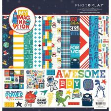 Scrapbooking Crafts 12X12 Paper Pack Photo Play My Imagination Boy Monsters Blue