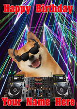 Shiba Inu Dog j581 Clubbing Cool DJ Fun Cute Personalised Birthday card