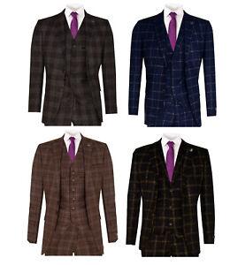 Mens 3 Piece Tweed Suit Check Wool Vintage Retro Peaky Blinders 1920 Classic Fit