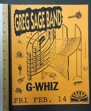 GREG SAGE BAND Sun Club Tempe AZ 1992 PUNK Concert FLYER G-Whiz WIPERS