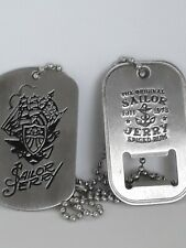 Sailor Jerry Tattoo Stainless Steel Dog Tag Bottle Opener Necklace
