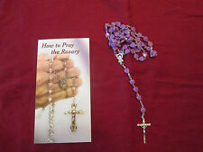 Purple Heart Rosary (Silver Tone Metal)  and How to Pray the Rosary Pamphlet