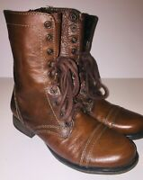 Steve Madden Women Troopa Leather Boots Brown Sz 7M Lace Up + Zip