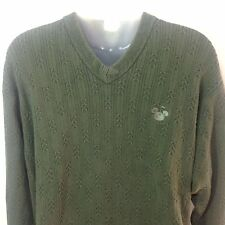 Disney Golf Collection Sweater Medium Mens Green Cotton V-Neck Mickey Mouse Icon