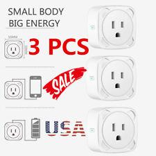 3x Smart Mini WiFi Plug Outlet Switch work with Echo Alexa Google Home Remote US
