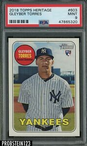 2018 Topps Heritage Gleyber Torres New York Yankees RC Rookie PSA 9 MINT