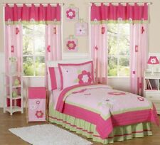 Sweet Jojo Designs Designer Pink Green Garden Kids Twin Flower Girl Bedding Set