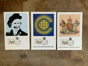 SOUTH AFRICA RSA 1995 MAXI CARDS x 3 QUEEN ELIZABETH 2 VISIT RHINO RHINOCEROS