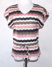 The Limited Womens Top Small Striped Sweater Drawstring Waist V Neck Metallic
