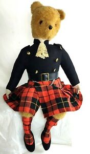 "Vintage Casa Roma Highland Scottish Teddy Bear Doll  Plush with Kilt  24"" tall"