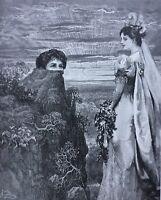 Original antique surrealist collage    Tolli La Sposa Mori wedding Serrano dress