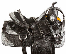 BARREL BLACK WESTERN SILVER SHOW TRAIL HORSE LEATHER SADDLE TACK SET 16 17