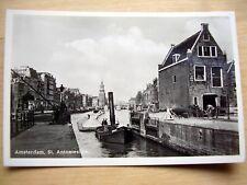 OLD REAL PHOTO-PC: AMSTERDAM~St. ANTONIESLUIS~ANIMATED~LOCK + TUGBOAT