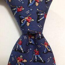 VINEYARD VINES Martha's Boys Youth 100% Silk Necktie Luxury HOCKEY Blue NWT