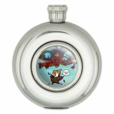 Trump Trade War with China Red Dragon Round Stainless Steel 5oz Hip Flask