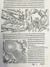 Wolfhart Chronicon Rare Woodcut Leaf Comet Monster (451) - 1557