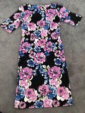 Black Pink & Blue Floral Stretch Bodycon Knee Length Dress Size 8 *BNWT*
