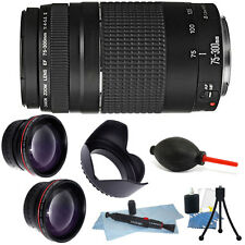 Canon Zoom Telephoto EF 75-300mm f/4.0-5.6 III Autofocus Lens Bundle for T5 T6..