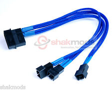Shakmods Molex to 3 x 3pin Fan 20cm Y Splitter Power Cable 12v Dark Blue Sleeved