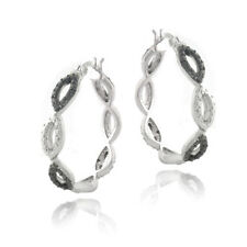 1/5ct Black Diamond Black & White Marquise Hoop Earrings