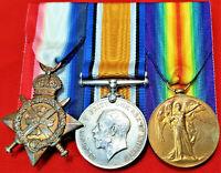 WW1 BRITISH ARMY 1914 STAR MEDAL 3RD BATTALION RIFLE BRIGADE & LABOUR CORPS