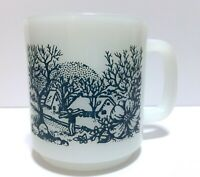 Glasbake Milk Glass Mug Cup Farm Scene Dark Blue and White