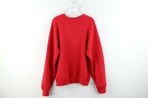Vintage 90s Streetwear Mens Large Blank Faded Crewneck Sweatshirt Red USA Made