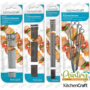 Kitchen Craft Reusable BBQ Skewers - Flat Sided Kebab Skewers - Pack of 6