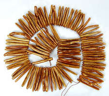 5x30mm Natural Golden Coral Spike Beads