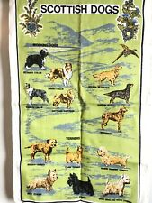Vintage Scottish Dogs Tea Towel with Collies Terriers & Greyhound Linanne 30""