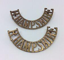 WW2 Royal Hampshire Regiment Brass Shoulder Title Badge Pair