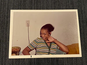 Sexy African American Girl Striped Shirt Posing Vintage 1970s Photograph