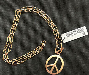 Robert Lee Morris Soho Gold Tone Long Link Round Peace Sign Pendant Necklace NWT