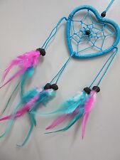 Stunning Heart  Pink/Blue 6cm Web Coconut Bead Dream Catcher 33cm Total Length