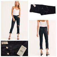 FREE PEOPLE November Rain Ladies Destressed Black Denim Jeans Size 31W 26L NEW