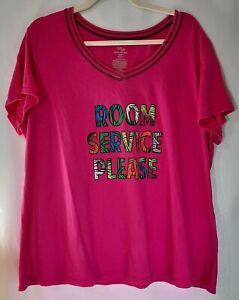 "Secret Treasures Size 2X/2XG Night Shirt ""Room Service Please"" Hot Pink 18W-20W"