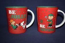 Set of 2 Winter Coffee Cup Mugs Peanuts Charlie Brown Snoopy Linus Red & Green