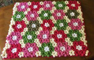 baby handmade crochet blanket UNIQUE multi coloured cot pram car rug craddle