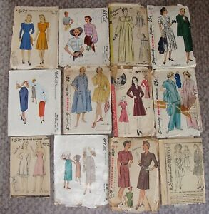 Lot Vintage 1940's 50's Sewing Patterns Hollywood Simplicity McCall