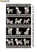 "DOG ON IT - Dog Walk Quilting Fabric Panels  Cotton 24"" x 44"""