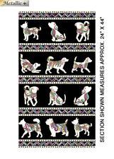 "DOG ON IT - Dog Walk Quilting Fabric Panels  Cotton 24"" x 44"""