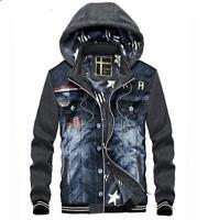 Men Warm Winter denim jeans Jacket Men denim hoody Coat outwear denim hooded