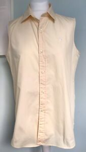 RALPH LAUREN POLO Sport Vtg Womens Pale Yellow Cotton Slvless Shirt UK 16 Logo