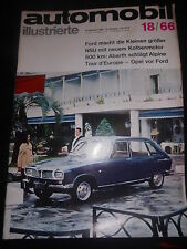 Zeitschrift magazine Auto Mobil Illustrierte Nr.18/66 September 1966 NSU Ford