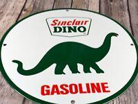 "VINTAGE SINCLAIR GAS DINO THE DINOSAUR 12"" PORCELAIN METAL GASOLINE OIL SIGN"