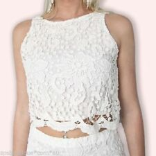 Lace Floral Sleeveless Crop Tops for Women