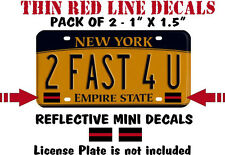 """2 PACK THIN RED LINE LICENSE PLATE REFLECTIVE DECALS - 1"""" x 1.6"""" Mini Decals"""