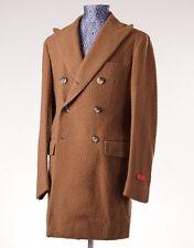 NWT $3895 ISAIA NAPOLI Camel Tan Casentino Wool Coat Overcoat Slim Eu 48 (US 36)
